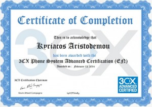 3CX Phone System Advanced Certification 13-02-2014