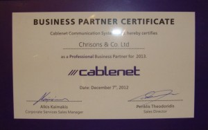 Cablenet Business Partner Certificate 2013