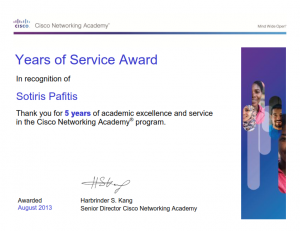 Cisco Network Academy Program - 5 Years Service Award