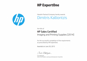 HP Sales Certified - Imaging and Printing Supplies 30-06-2015