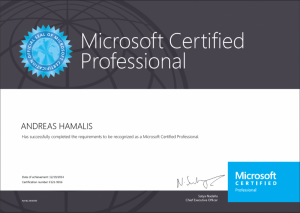 Microsoft Certified Professional 19-12-2014