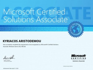 Microsoft Certified Solutions Associate - Windows Server 2012 MCSA - 17-04-2013