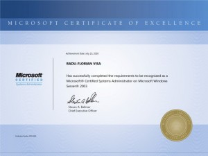 Microsoft Certified Systems Administrator on Winows Server 2003 - Radu