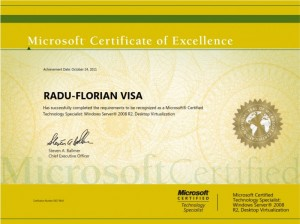 Microsoft Certified Technology Specialist - Windows Server 2008 R2 Desktop Virtualization - Radu