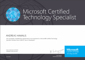 Microsoft Certified Technology Specialist - Windows Server 2008 R2, Server Virtualization - 07-01-2013