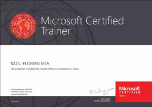 Radu Florian Visa - Microsoft Certified Trainer