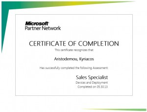Microsoft Partner Network - Devices and Deployment Sales Specialist - Certificate of Completetion 30-05-2013