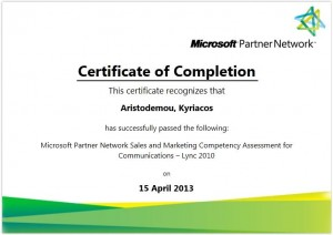 Microsoft Partner Network Sales and Marketing Competency Assessment for Communications - Lync 2010 - 15-04-2013