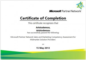 Microsoft Partner Network Sales and Marketing Competency Assessment for Midmarket Solution Providers - 15-05-2013