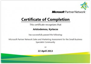 Microsoft Partner Network Sales and Marketing Competency Assessment for the Small Business Specialist Community - 22-04-2013