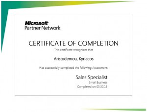 Microsoft Partner Network - Small Business Sales Specialist - Certificate of Completetion 30-05-2013