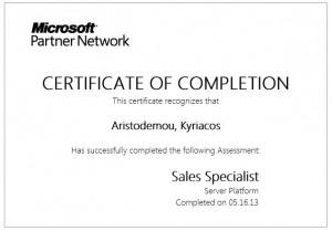Microsoft Server Platform Sales Specialist - 16-05-2013