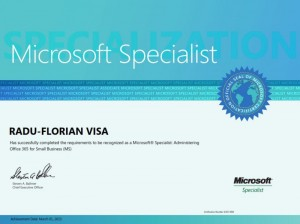 Microsoft Specialist - Administering Office 365 for Small Business (BS) - 01-03-2013