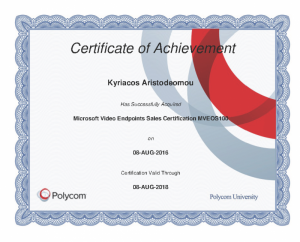 Polycom Certificate of Achievement - Microsoft Video Endpoints Sales Certification MVEOS100 - Kyriacos Aristodemou - 08-08-2016