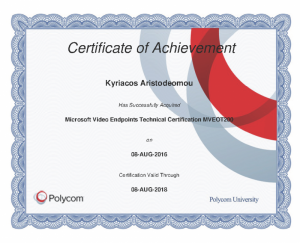 Polycom Certificate of Achievement - Microsoft Video Endpoints Technical Certification MVEOT200 - Kyriacos Aristodemou - 08-08-2016