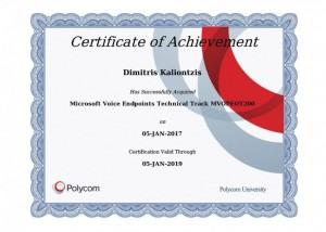 Polycom Certificate of Achievement - Microsoft Voice Endpoints Technical Track MVOPEOT200 - Dimitris Kalliontzis - 05-01-2017