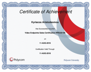 Polycom Certificate of Achievement - Video Endpoints Sales Certification RPEOS100 - Kyriacos Aristodemou - 11-08-2016
