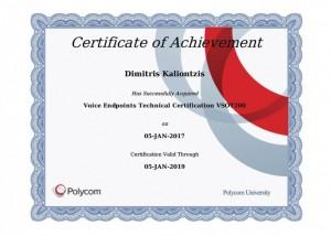 Polycom Certificate of Achievement - Voice Endpoints Technical Certification VSOT200 - Dimitris Kalliontzis - 05-01-2017