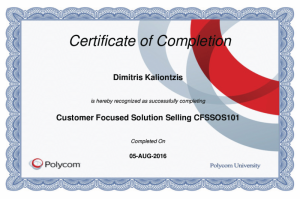 Polycom Certificate of Completion - Customer Focused Solution Selling CFSSOS101 - Dimitris Kalliontzis - 05-08-2016