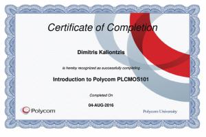 Polycom Certificate of Completion - Introduction to Polycom PLCMOS101 - Dimitris Kalliontzis - 04-08-2016